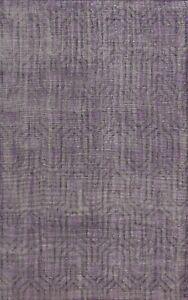 Contemporary Trellis Oushak Oriental Purple Wool Handmade Area Rug 6x9 Carpet