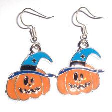 Kitsch Kawaii Halloween Pumpkin Enamel Charm Earrings Fancy Dress Blue Hat