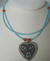 Western Turquoise Bead Heart Pendant Necklace