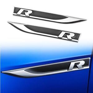 2x Universal Black Metal R Logo Car Side Wing Fender Emblem Knife Badge Stickers