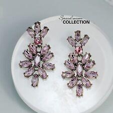 Bigiotteria Orecchini Perno D'oro Rosa Chiaro Cristallo Fiore Pendente Retro X6