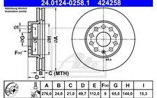 1x ATE Disco de freno delantero Ventilado 276mm 24.0124-0258.1
