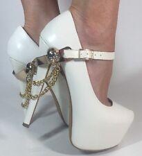 Women's ZiGiny White Mary Jane Leather Skull Chain Platform Stilettos 7.5