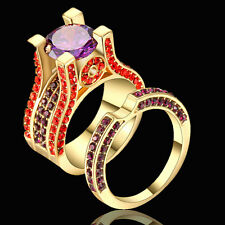 Round Cut Purple Amethyst Engagement Band Rings Set Gold Rhodium Plated Size 8