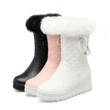 Womens Mid-calf Boots Fur Trim Winter Warm Bowknot Boot Hidden Wedge Heel Shoes