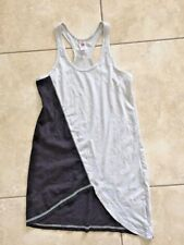 ZUMBA Wear Women's Light Gray/Black Asymmetrical Hem Racer Back Tank Top Size S