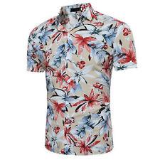 Mens Short Sleeve Floral Printed Shirt Summer Hawaiian Beach Holiday Shirts