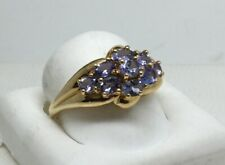 14k Yellow Gold Tanzanite Tiered Cluster Ring By SCBS  Size 10