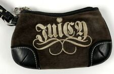 Juicy Couture Wristlet Wallet Clutch Juicy Scroll Brown Velour Leather A2312