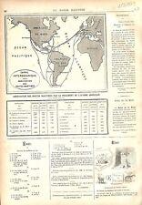 Carte Abréviation Route Maritime Canal Interocéanique de Panama GRAVURE 1879
