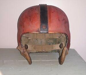 vtg RIDDELL Suspension Football Helmet 1950's? Cleveland Browns? Reddish/Orange