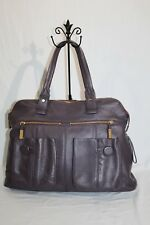 Bodhi Designer Plum Purple All Leather Very Large Tote Handbag Purse Well Made