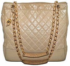 "CHANEL 14.25"" Jumbo Beige Nude Quilted Lambskin Leather Beige Tote Shoulder Bag"