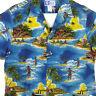 RJC Hawaiian Aloha Shirt Mens L Woodies Steam Ship Plane Outrigger Diamond Head