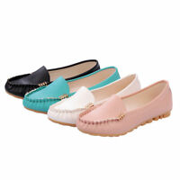 New Women Slip On Loafers Casual Boat Round Toe Moccasins Office Flat Heel Shoes