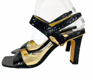 Vtg Timothy Hitsman Black Snakeskin Leather Gold Snake Strappy Slingback Heels
