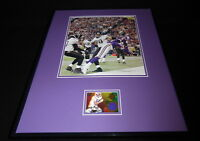 Randy Moss 16x20 Framed Game Used Jersey & Photo Display Minnesota Vikings