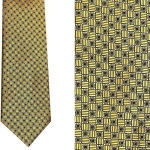 Pronto Uomo BUY 2 GET 1 FREE Gold Black Checked 100% Silk Tie M9722