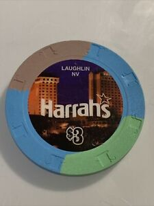 HARRAHS $3 Casino Chip Laughlin Nevada 3.99 Shipping