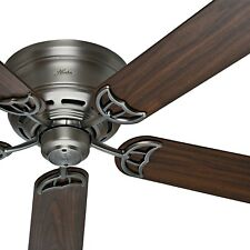 "52"" Hunter Traditional Low Profile Ceiling Fan - Antique Pewter - Free Shipping"