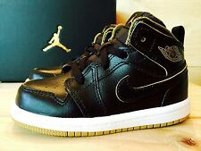 NIKE AIR JORDAN 1 Retro Mid BLACK + METALLIC GOLD Toddler Boys Kids Shoe Size 10