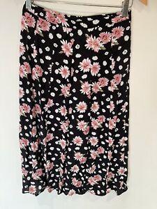 Dotti Maxi Skirt - Floral - 8 - Black - Zip At Side - Pink Flowers