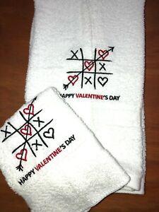 Embroidered Bathroom Hand Towel & Cloth Set  Happy Valentine's Day Tic Tac Toe