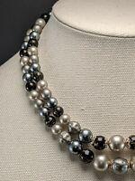 Vintage Multi Strand Lucite Bead Necklace  Black & Gray Japan Beautiful!