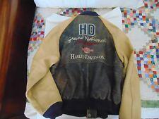 Vtg Harley Davidson Men's Distressed National Champion Varsity Leather Jacket L
