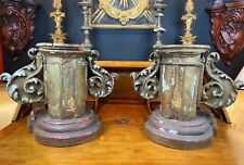 Pair of 18th Century Italian Large Carved Giltwood Altar Pedestals From Church