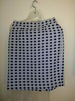 Banana Republic Skirt Pencil Navy Blue White Basket Weave Lined Career SZ 0P EUC