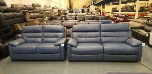 Dual ocean blue leather electric 3 seater sofa and standard 2 seater sofa