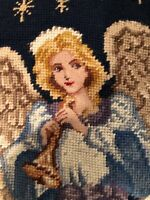 Strikingly Beautiful Needlepoint Christmas Stocking with Glorious Angel