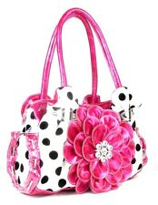 POLKA DOT PINK WHITE BLACK FLOWER BLING RHINESTONE WESTERN COWGIRL SASSY PURSE