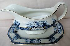 Whieldon Ware Old Nankin Gravy Boat and Stand c1910-20 Crazing