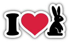 I Love Bunny Car Bumper Sticker Decal 5'' x 3''