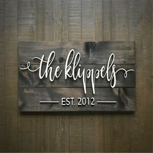 Personalised Last Name Sign Engraved Wood Family Sign Wedding Gift