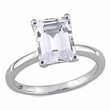 Amour 10k White Gold Created White Sapphire Solitaire Engagement Ring
