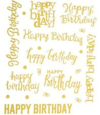 2 Sheets Gold Foil Happy Birthday Planner Stickers Papercraft Envelope Seal Card