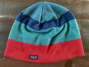 Patagonia Striped Beanie, Green w/ Blue & Red Snow Hat, Unisex