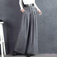 Womens Autumn Winter Wool Blend Wide Leg Pants Pleated slacks straight-leg pants