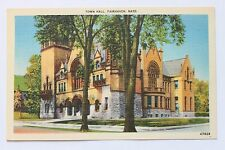 Linen postcard TOWN HALL, FAIRHAVEN, MA