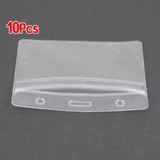 10pcs PVC Clear Waterproof Vertical ID Card Badge Plastic Pocket Holder Pouches