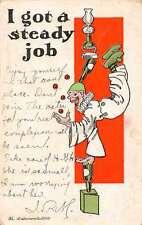 I Got A Steady Job juggler on bottle balls in clown suit antique pc Y12846