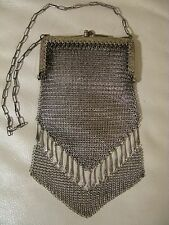 Antique Art Nouveau Deco German Silver Floral  Fancy Drop Fringe Mesh Purse