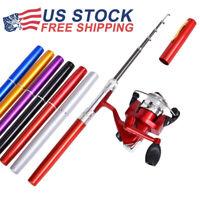 Mini Portable Pocket Fish Pen Shape Aluminum Alloy Fishing Rods Pole Reel Gears