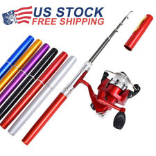 Aluminum Alloy Mini Portable Pocket Fish Pen Shape Fishing Rod Pole Reel Gear