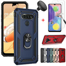 For Lg K51 Case Shockproof Stand Cover With Tempered Glass+Car Air Vent Holder