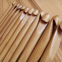 "12pcs 6"" Knitting Needle Set Bamboo Crochet Hook Tool Knit Weave Sewing Craft"