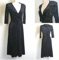 Kiss Vintage 90's Black Crushed Velvet 3/4 Sleeve Long Swing Flare Dress size 12